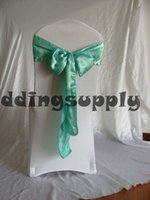 Wholesale 100 Blue Satin Chair Cover Sashes for Chair Wedding Chair Cover Sash Chair Ribbon for banquet