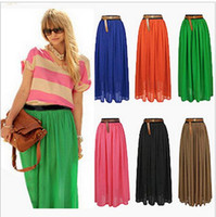 pleated skirt - 2015 long maxi skirt for women Fashion Spring Summer Pleated Maxi Skirt Colors Amazing Chiffon High Waist Skirt for Women High Quality