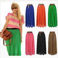maxi - 2015 long maxi skirt for women Fashion Spring Summer Pleated Maxi Skirt Colors Amazing Chiffon High Waist Skirt for Women High Quality