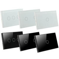 Wholesale US Stock Crystal Glass Panel Smart Touch Screen Wall Light Switch Gang with LED indicator US Standard