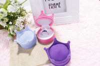 Wholesale New Crown Shape Velvet Ring Box Earring Jewelery Case Luxury Princess Gift Boxes Random Color