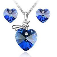 Crystal aqua wedding accessories - Hot Sale Silver Plated Austrian Crystal Sweet Heart Necklace and Stud Earrings Wedding Accessories Jewelry Sets For Women z006