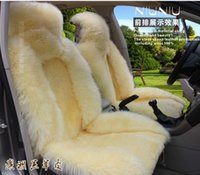 Wholesale New arrival Hot sale Cattle winter wool car seat cushion Pulvinis fur one piece seat pure wool full leather cushion