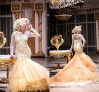 ireland - 2015 Ireland Wedding Dresses Sheer Long Sleeve Applique Beads Mermaid Bridal Gowns Tulle Sweep Train Saudi Arabia Wedding Dresses Vestidos