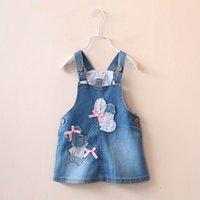 balloon style dresses - 2016 Spring Girl Dress Patch Cartoon Balloon SleeveLESS Dress Girl Denim Sundress Y
