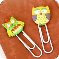 Wholesale Girl like Cute Cartoon Owl Metal Paper Clip Animal Creative Design DIY Bookmark Multifunction Students Gifts Stationery