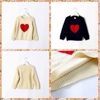 baby jumper - Sweet Babies Boys Girls Knitting Love Embroider Sweaters Tops Pullover Beige and Blue Color Tops Cute Children Fall Winter Outwears