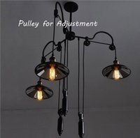 bar height dining - Fashion Aemrican Nostalgic Retro Industrial Country Style Pendant Suspension Lamp Bar Adjustable Pendant Lights Pulley Height