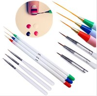 Wholesale 6Pcs Fine Drawing Striping Liner Design Tips Nail Art Pen Brushes Brush Salon DIY Gel UV Tool Manicure