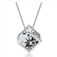 acrylic cube boxes - s925 silver love cube necklace eight arrows and hearts zirconium Miss Shi really short paragraph clavicle chain with box chain C5A