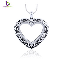 Unisex alloy heart locket - 5PCS Silver Heart magnetic glass floating charm locket Zinc Alloy x27mm chains included for free LSFL07