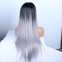 Wholesale Grey Wigs for Black Women Synthetic Wigs Lace Front Wigs Glueless Ombre Tone Color Black And Grey Heat Resistant Hair Wigs