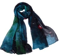 scarf material - Cotton Voile Material Women Scarf with Star Sky Printing Pattern Extra Large Lady Scarf