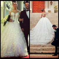 Wholesale Gorgeous Princess Long Embroidery Lace Vestidos De Noiva Wedding Dresses Appliques Long Sleeve Bridal Gown Sheer Back