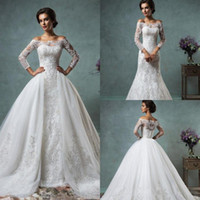 Cheap 2016 Vintage Lace Wedding Dresses with Detachable Skirt Amelia Sposa Winter New Sheer Long Sleeve Sweep Train Plus Size Bridal Gowns 2015