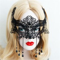 easter dresses for women - Sexy Black Lace Women Party Masks with Ribbon Rhinestone tassels Cheap Venetian Masquerade Sheer Carnival Gothic Dress Accessories