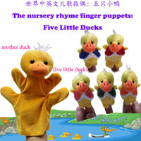 Wholesale Retail World Nursery Rhyme Puppets Five Little Ducks Plush Finger Puppets For Kids Students Talking Props Baby Toys