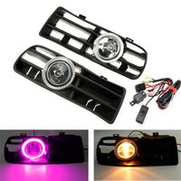 Wholesale LED Fog Lamp Lights Bumper Grille Grill Purple Angel Eyes For VW Golf