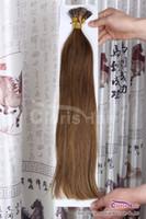 Châtain # 6 Bâton I Tip Human Hair Extensions kératine Fusion Pré-collés Hétéro Indian Remy Hair 50g 0.5g Per Strand, 18-22 pouces