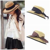 Wholesale Korean Style Women Floppy Paper Straw Hats Stylish Girl Outdoor Travel Summer Beach Wide Brim Hats Sunblock Derby Caps ETX