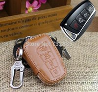 hyundai ix45 - Genuine Leather Car Key Case For Hyundai New Santa Fe IX45 Buttons Remote Key Wallets Cover With Key Rings