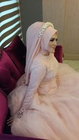 muslim bridal gown - Stunning Lace Appliqued Muslim Wedding Dresses With Long Sleeves A Line Sequined High Neck Tulle Bridal Gown With Bows