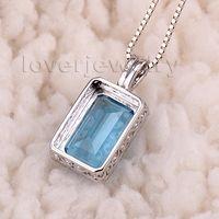Wholesale Valentine s day Amazing Emerald Cut x12mm Kt White Gold Natural Diamond Blue Topaz Pendant GF0001