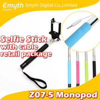Wholesale Factory price Audio cable wired Selfie Stick Extendable Handheld Monopod and play Cable Take Pole Wired for iPhone s PLUS Note