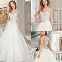 Wholesale 2015 New Fashion Wedding Dresses Demetrios Ball Gown V Neck Sleeveless Chapel Train Button Closure Sequin Beads Tulle Bridal Gowns