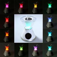 Wholesale White difusor de aroma Hourglass Shaped Aroma Heater LCD Display Screen Digital Clock Night Light Humidifier Aroma Diffuser