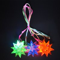 Wholesale LED FLASHING SPIKY JELLY STAR NECKLACE GLOW STICKS Cheer Items LED Poms Fun Children Favor Decor Gift