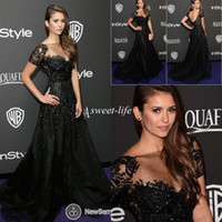 nina dobrev red dress - Elie Saab Evening Dresses Short Sleeve Illusion Neckline Beading Mermaid Black Nina Dobrev Golden Red Carpet Celebrity Dress Prom Gowns