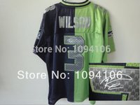 authentic russell wilson jersey - Factory Outlet Russell Wilson Signed Blue Green Split Elite New Brand Authentic Football Jerseys Sewn On Jersey Cheap
