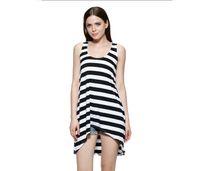 beach sand scoop - women dress Loose white sand beach striped clothing smock dress bikini blouse bohemian resort beach WQX001