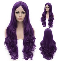 Cheap Sexy hairstyles for women New Fashion Women Hair Wigs Heat Resistant Purple Long Curly Synthetic Cosplay Party Wig 80cm