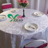 Wholesale White Jacquard Round Poly Table Cloth Cheap Price Wedding Table Cloth