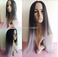 Wholesale 2016 Ombre Tone Color Black And Grey Silk Straight Gray Synthetic Lace Front Wig pc