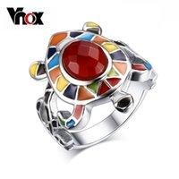 Wholesale Hot Fashion Colourful Turtle Ring High Polished Stainless Steel Women Jewelry Colourful Shiny Glass hot sale