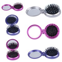 Wholesale Brand New Women Cosmetic Mirror Comb Set Fold Pocket Makeup Mirror Gift For Lady Girl Presents Colors Choose ZXW