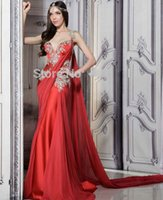 baile party - Lace Sexy Red Indian Long Mermaid Prom Dresses Formal Dresses Party Evening Gowns vestidos de baile longo trajes de prom largos
