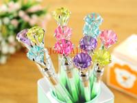 Wholesale Wonderful Gel pen Hot Black Refill Love of Crystal Gel Pen Diamond Head Gel Ink Pen Stationery Office School Supplies Freeshipping