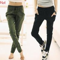 Wholesale 2015 Hotest Summer Autumn Pants Plus Size XXL Women Trousers Fashion Cropped Trousers Slim Pants Casual Capris Harem Pants For Women