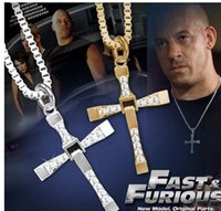 cross necklace - fast and furious Toretto Men s Cross pendant Necklaces Fashion brand designer rhinestone gold silver long statement necklace for men