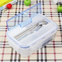 Wholesale 1pc Ecofriendly Outdoor Portable Microwave Lunch Box with Soup Bowl Chopsticks Spoon Food Containers For kids School Office