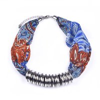 Cheap Blue Necklaces Scarf Best Polyester Floral scarve necklace