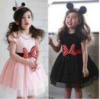 Wholesale 2015 New Arrival Korean Girl Dress Girl Cute Bowknot Dress Girl Short Sleeve Gauze Dress Skirt Kids Clothes Dresses J7E45