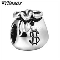 Cheap Wholesale-925 Sterling Silver Charm Hearts Money Bag European Charms Silver Beads For Snake Chain Bracelet DIY Fashion Jewelry
