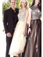 anne black gray - Newest prom dresses sheer Anne Queen Neckline Tea length With Keyhole Formal Prom Gown Crystal and Sequins chiffon Backless party dress