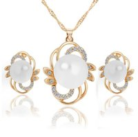 african women fashion - 18KGP Pearl Necklace Earrings Jewelry Sets High Quality Fashion Crystal Flower Jewelry Set For Women H