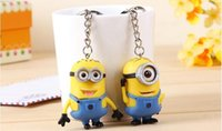 Wholesale 1Set sets CM D Despicable Me Cartoon Minion Action Figure Keychain Lover Keyring Key Ring Mobile Chain For Christmas Gift Toy